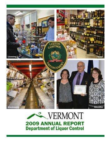 Vermont Liquor Control Annual Report 2009 - Vermont Department ...