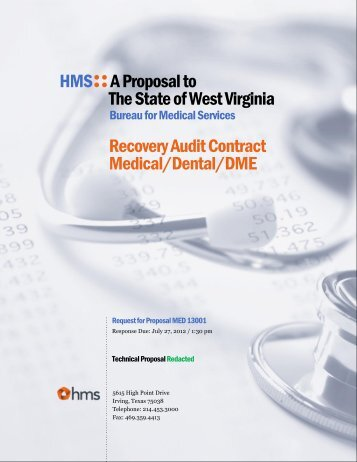HMS::A Proposal to The State of West Virginia Recovery ... - DHHR