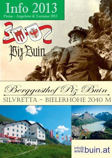 6 Übernachtungen mit Verwöhnhalbpension - Berggasthof piz buin