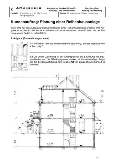 Kundenauftrag Planung Einer Reihenhausanlage Directa Verlag