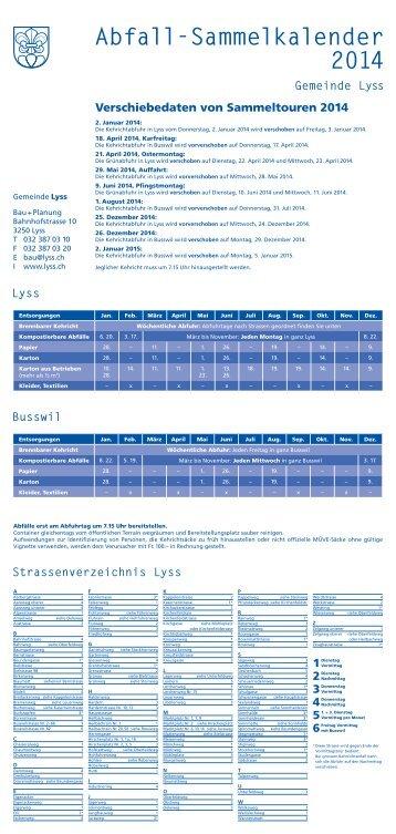 Abfallsammelkalender 2014 - Gemeinde Lyss