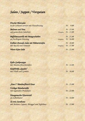 Salate / Suppen / Vorspeisen - Quadra Obersaxen
