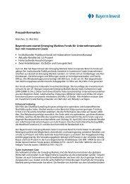 BayernInvest startet Emerging Marktes Fonds für ...