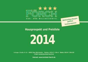 Hausprospekt und Preisliste - Kurhotel Förch in Bad Wörishofen