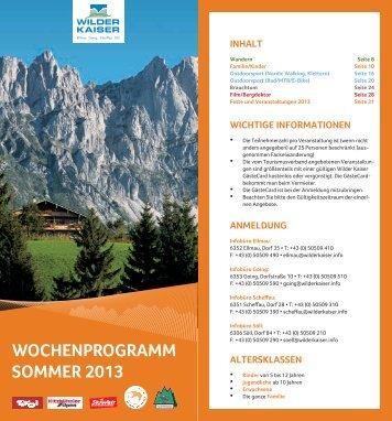 Tourismusverband Wochenprogramm Sommer 2013 - Hotel Hochfilzer