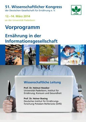 Vorprogramm - Deutsche Gesellschaft für Ernährung, DGE