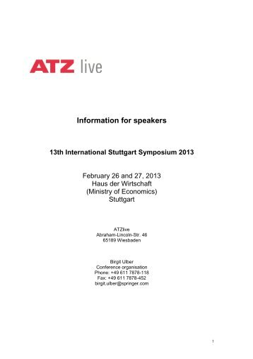Information for speakers 13th International Stuttgart ... - FKFS
