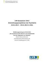 Einführungsvortrag LVR-Dezernentin Klinikverbund und Verbund ...
