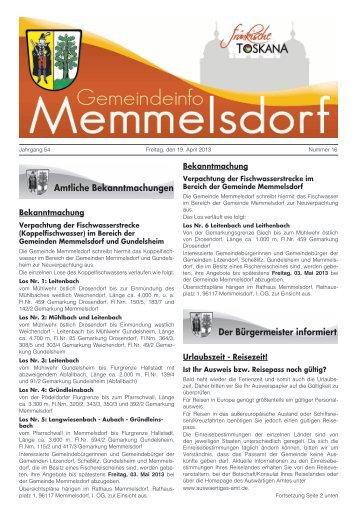 Bekanntmachung Bekanntmachung Urlaubszeit ... - Memmelsdorf