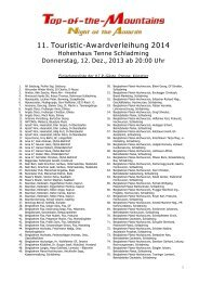 11. Touristic-Awardverleihung 2014 - Top of the Mountains