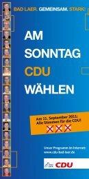 AM Sonntag CDU wählen - CDU Bad Laer