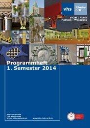 Programmheft 1. Semester 2014 - Volkshochschule Rhein-Erft