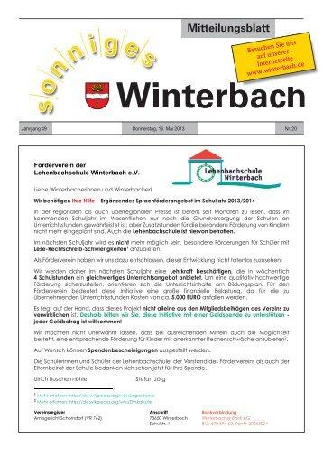 Mitteilungsblatt KW 20/2013 - Gemeinde Winterbach