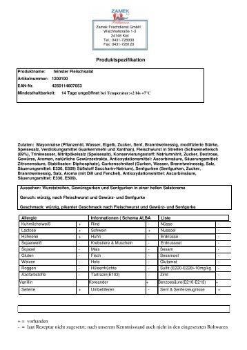 Produktspezifikation ansehen - ZAMEK Frischdienst Kiel