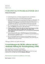veranstaltungskalender 2013 - Deutsche Gesellschaft für Humanes ...