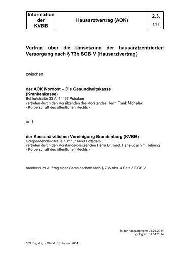 Hausarztvertrag (AOK) - Kassenärztlichen Vereinigung Brandenburg