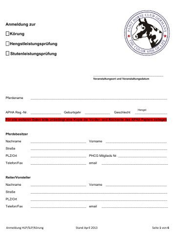 Dokument zum Download - PHCG, Paint Horse Club Germany e.V.