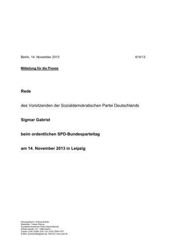 Gesamter Wortlaut der Rede von Sigmar Gabriel [PDF] - SPD