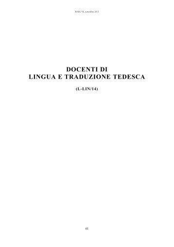 docenti l-lin/14 - Associazione Italiana di Germanistica - Università ...
