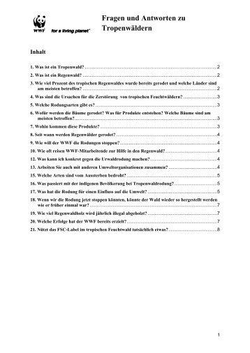 Fragen und Antworten zu Tropenwäldern - WWF Schweiz