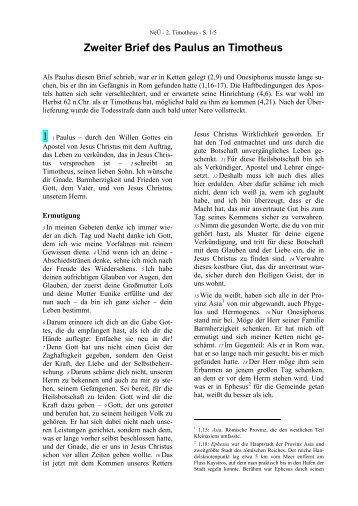 NeÜ bibel.heute: Zweiter Brief des Paulus an Timotheus