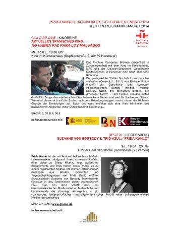 Kulturprogramm Januar 2014 - Instituto Cervantes Bremen