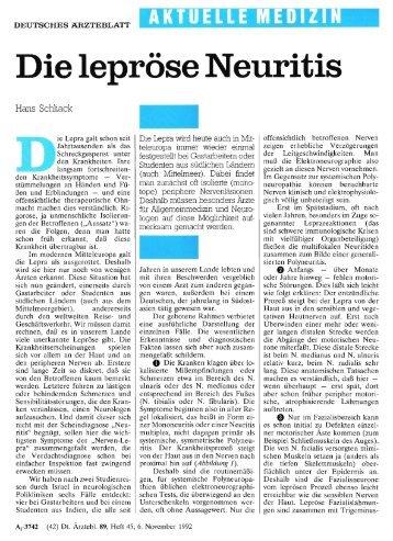 Die lepröse Neuritis - Deutsches Ärzteblatt