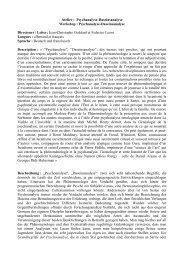Atelier : Psychanalyse-Daseinsanalyse Workshop : Psychanalyse ...