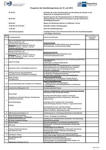 Programm der Ausbildungsmesse am 16. Juli 2013 - IHK Regensburg