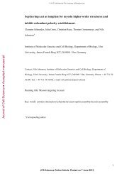 Journal of Cell Science Accepted manuscript