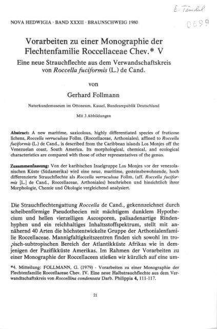 Vorarbeiten zu einer Monographie der Flechtenfamilie ...