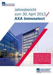 Jahresbericht zum 30 . April 2013 AXA Immoselect - stockselection