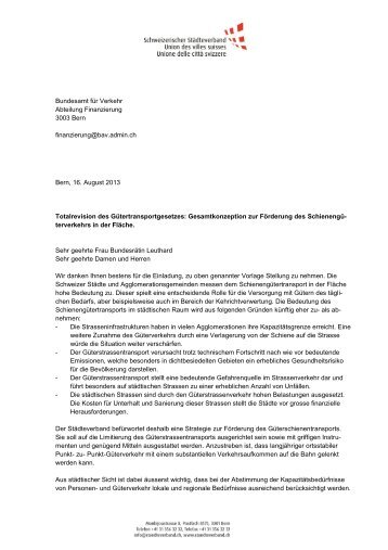 Vernehmlassungsantwort - Schweizerischer Städteverband