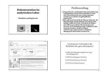 Dokumentation im analytischen Labor Problemstellung
