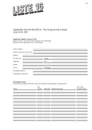 Application form for the LISTE 16 – The Young Art Fair in Basel June ...