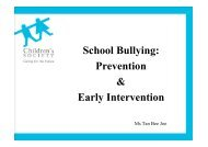 Ms Tan Bee Joo: School Bullying: Prevention & Early Intervention