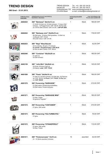 Preisliste [PDF] - Trend Design Handel AG