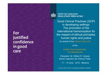 Good Clinical Practices (GCP) in developing settings: The ... - UNICRI