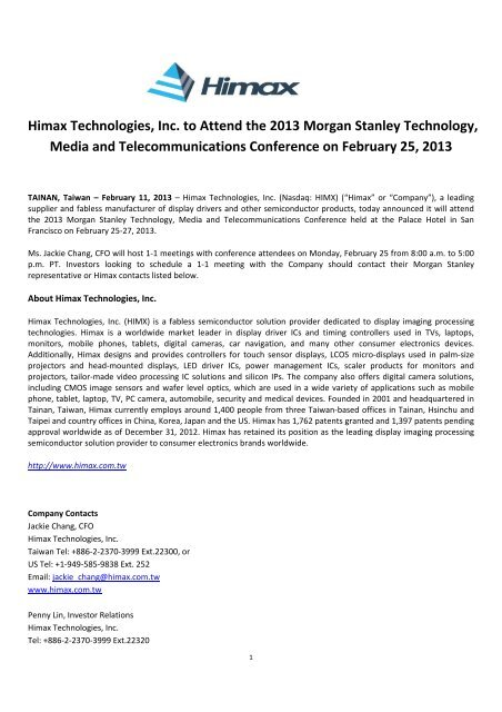 ALA Himax Technologies, Inc  to Attend the 2013 Morgan