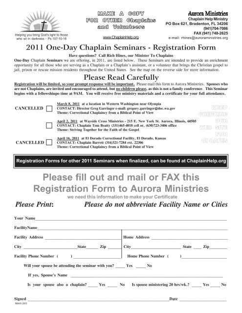 941 form mail  Please fill out and mail or FAX this Registration Form to ...