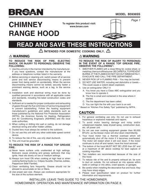 chimney range hood - broan