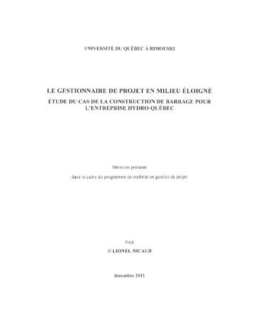 le gestionnaire de projet en milieu éloigné - Université du Québec à ...