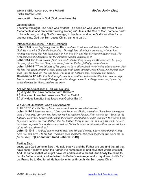 Lesson 8 - Jesus is God (Come to Earth) - Sunday School Center