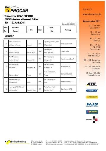 vorläufige Teilnehmerliste Zolder - ADAC Procar