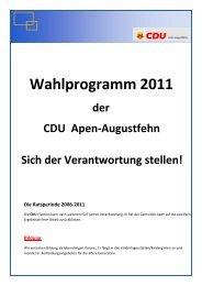 Wahlprogramm 2011 - CDU Gemeindeverband Apen-Augustfehn
