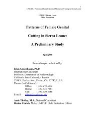 Patterns of Female Genital Cutting in Sierra Leone - Unicef