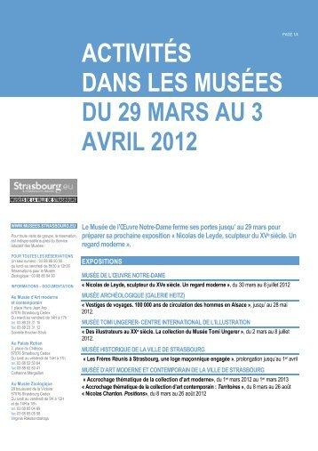 activités dans les musées du 29 mars au 3 avril 2012 - Foxoo