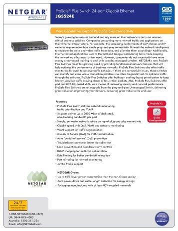 ProSafe® Plus Switch 24-port Gigabit Ethernet JGS524E
