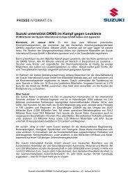 Suzuki unterstützt DKMS im Kampf gegen ... - Suzuki-presse.de