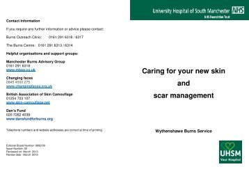 Caring for your new skin and scar management - UHSM